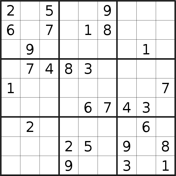 Sudoku puzzle for <br />Monday, 18th of March 2019