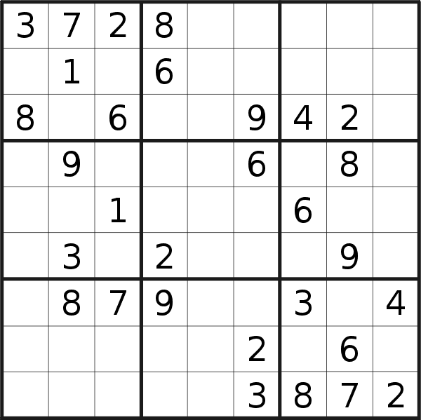 Sudoku puzzle for <br />Tuesday, 19th of March 2019