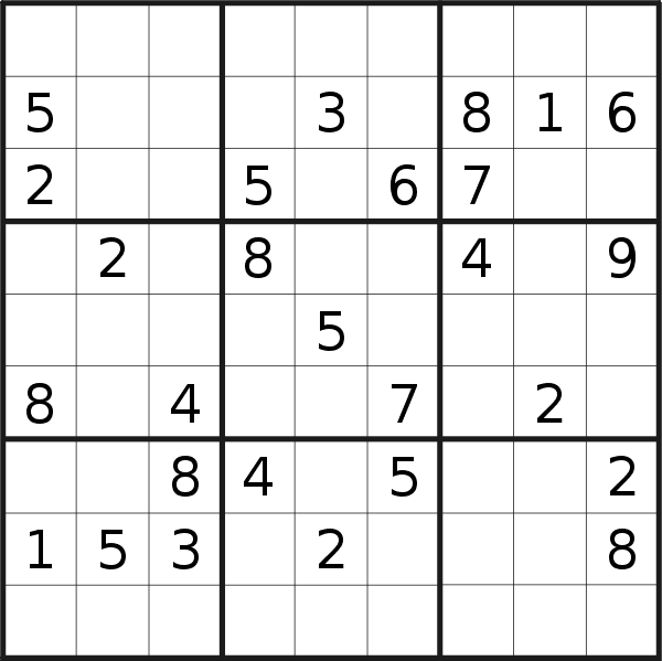 Sudoku puzzle for <br />Wednesday, 20th of March 2019