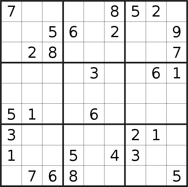 Sudoku puzzle for <br />Saturday, 23rd of March 2019