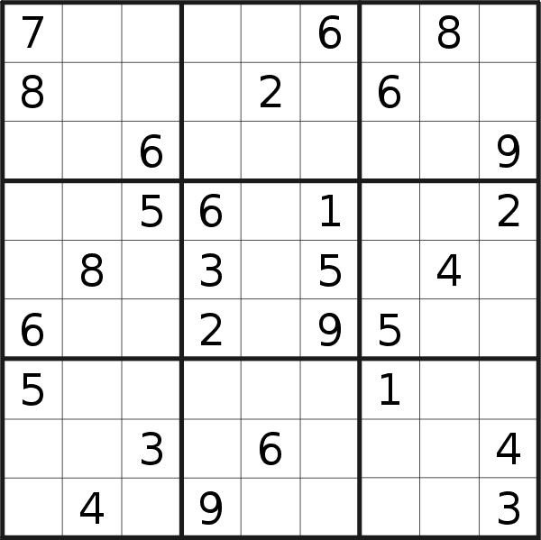 Sudoku puzzle for <br />Wednesday, 27th of March 2019
