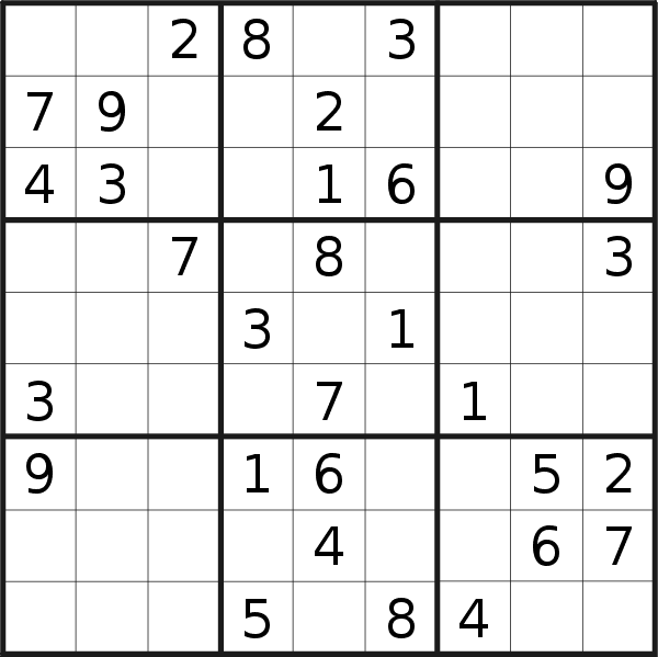 Sudoku puzzle for <br />Sunday, 31st of March 2019