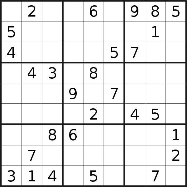 Sudoku puzzle for <br />Monday, 1st of April 2019