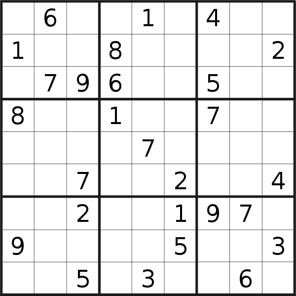 Sudoku puzzle for <br />Sunday, 7th of April 2019