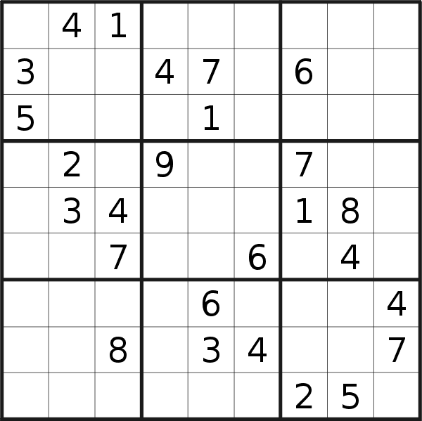 Sudoku puzzle for <br />Tuesday, 9th of April 2019