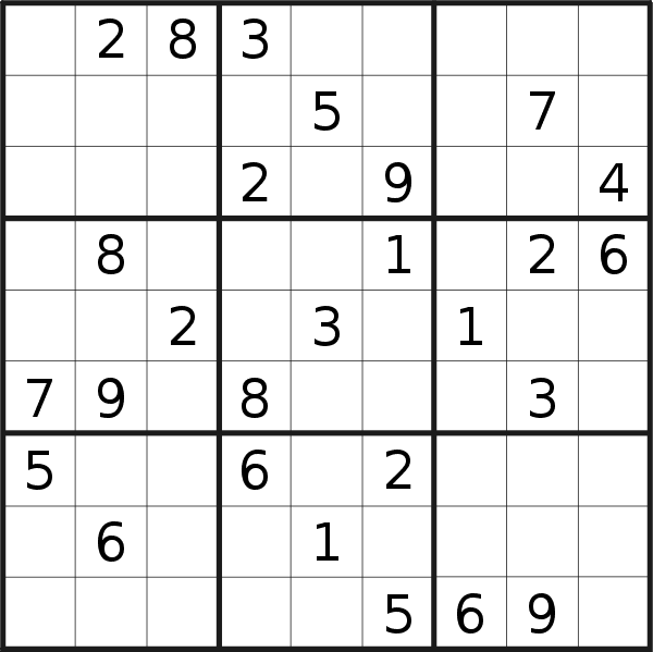 Sudoku puzzle for <br />Thursday, 11th of April 2019
