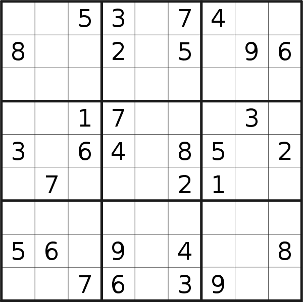 Sudoku puzzle for <br />Saturday, 13th of April 2019