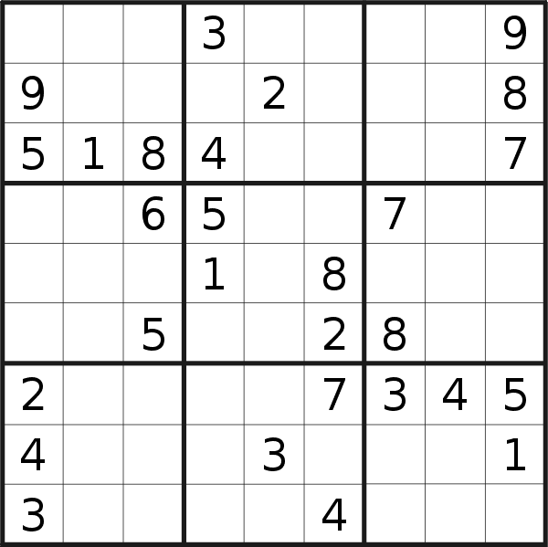 Sudoku puzzle for <br />Tuesday, 16th of April 2019
