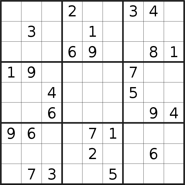 Sudoku puzzle for <br />Thursday, 18th of April 2019