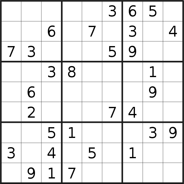 Sudoku puzzle for <br />Sunday, 21st of April 2019