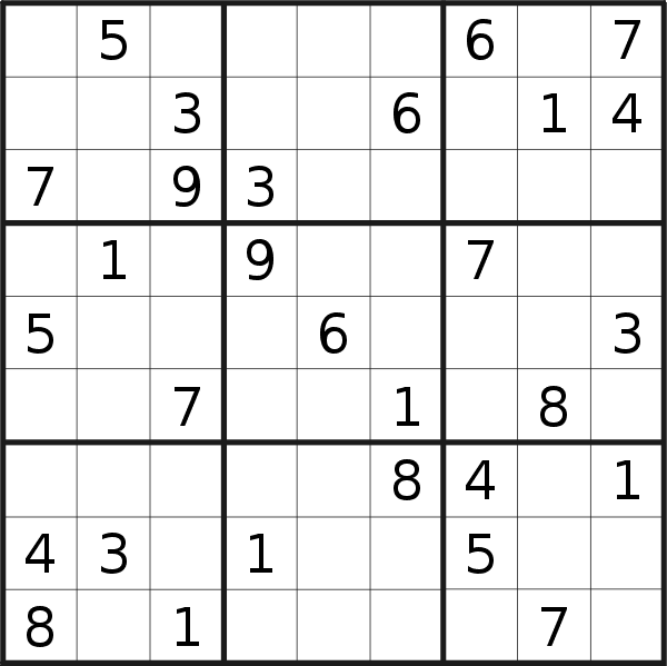 Sudoku puzzle for <br />Monday, 22nd of April 2019