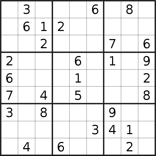 Sudoku puzzle for <br />Wednesday, 1st of May 2019