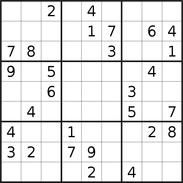 Sudoku puzzle for <br />Thursday, 9th of May 2019