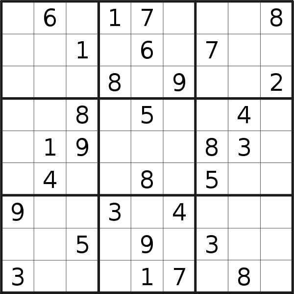Sudoku puzzle for <br />Saturday, 11th of May 2019