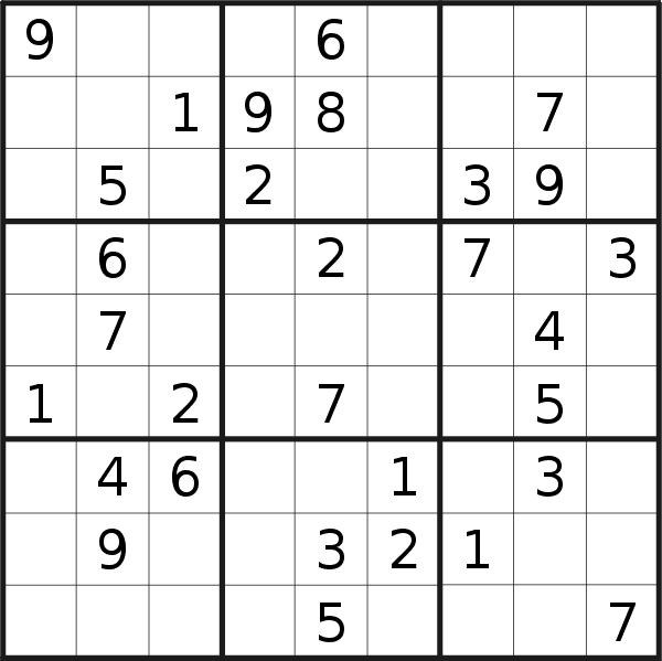 Sudoku puzzle for <br />Tuesday, 14th of May 2019