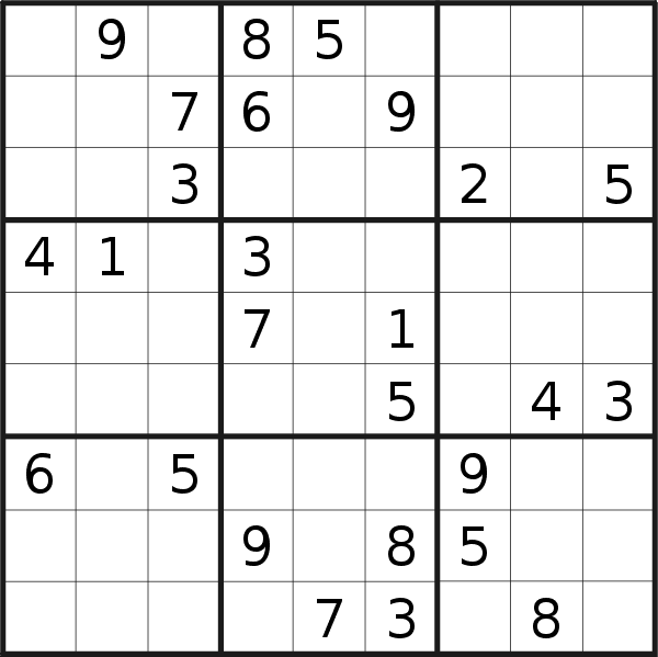 Sudoku puzzle for <br />Wednesday, 15th of May 2019