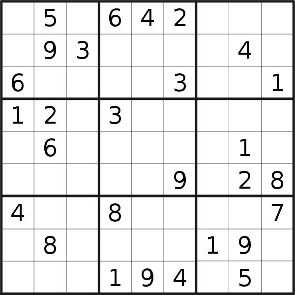 Sudoku puzzle for <br />Sunday, 19th of May 2019