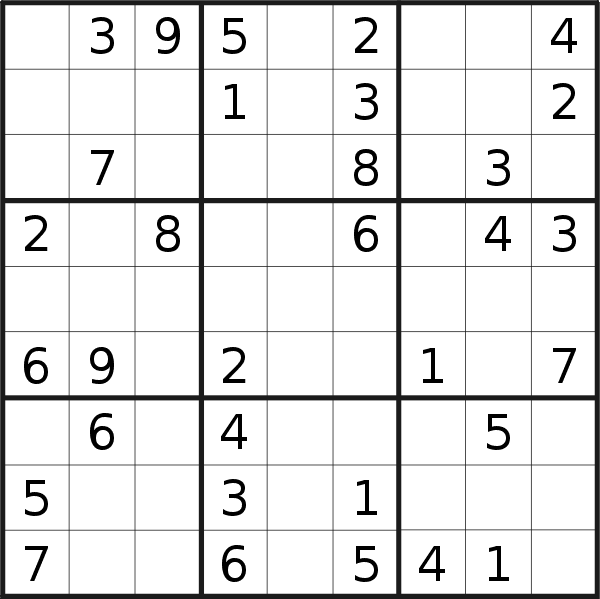 Sudoku puzzle for <br />Monday, 27th of May 2019