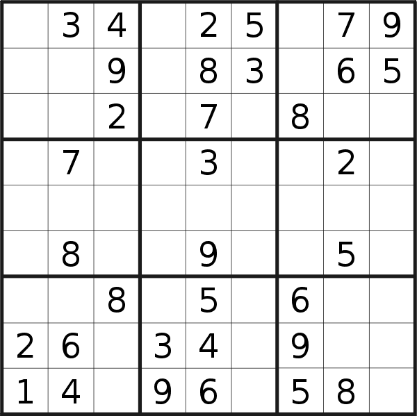Sudoku puzzle for <br />Saturday, 1st of June 2019