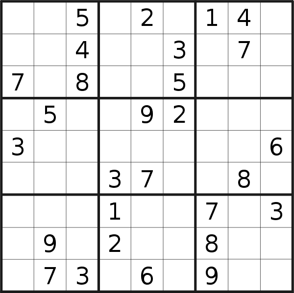Sudoku puzzle for <br />Sunday, 2nd of June 2019