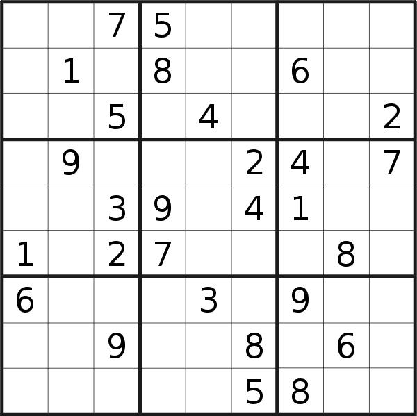 Sudoku puzzle for <br />Monday, 3rd of June 2019