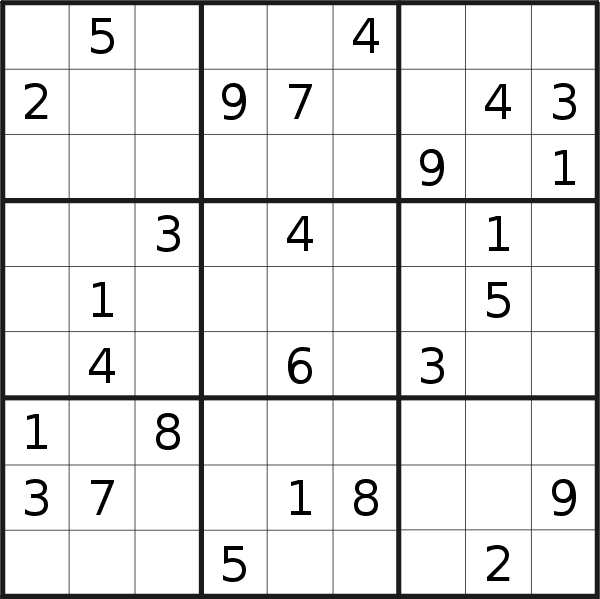 Sudoku puzzle for <br />Friday, 7th of June 2019
