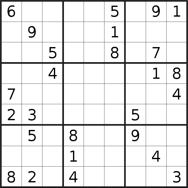 Sudoku puzzle for <br />Monday, 10th of June 2019