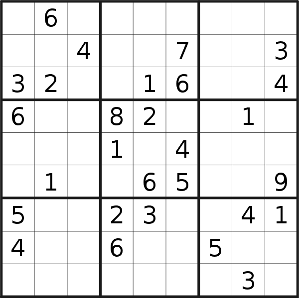 Sudoku puzzle for <br />Wednesday, 19th of June 2019