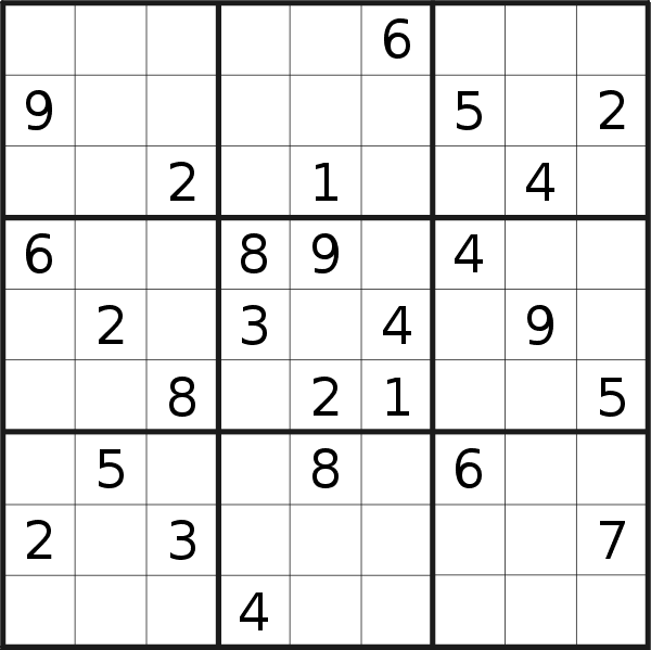 Sudoku puzzle for <br />Thursday, 20th of June 2019