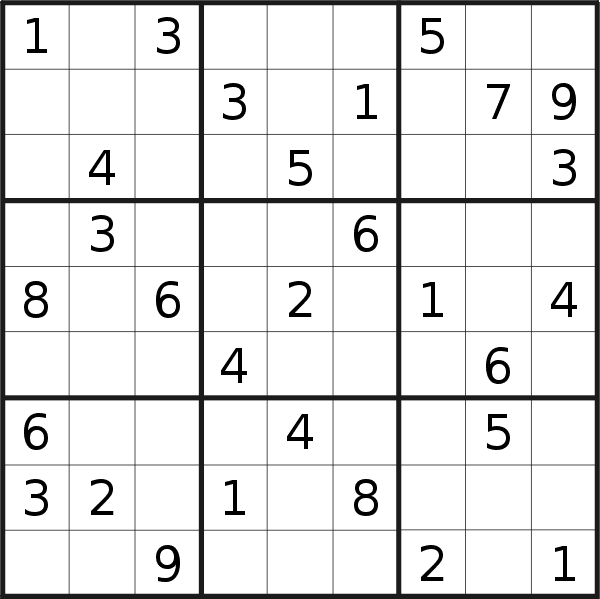 Sudoku puzzle for <br />Friday, 21st of June 2019