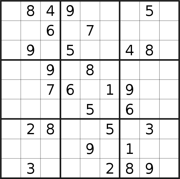 Sudoku puzzle for <br />Saturday, 22nd of June 2019