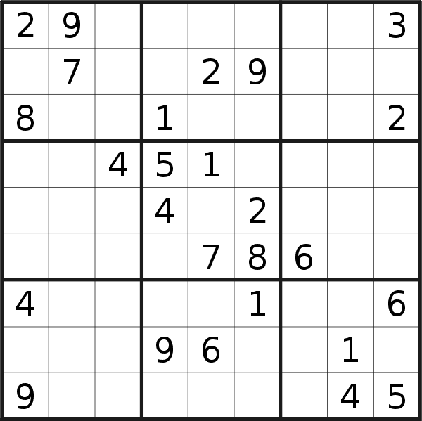 Sudoku puzzle for <br />Sunday, 23rd of June 2019