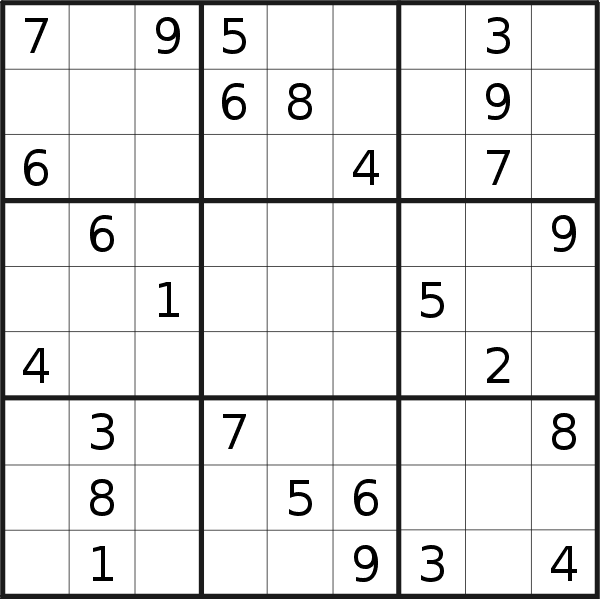 Sudoku puzzle for <br />Thursday, 27th of June 2019