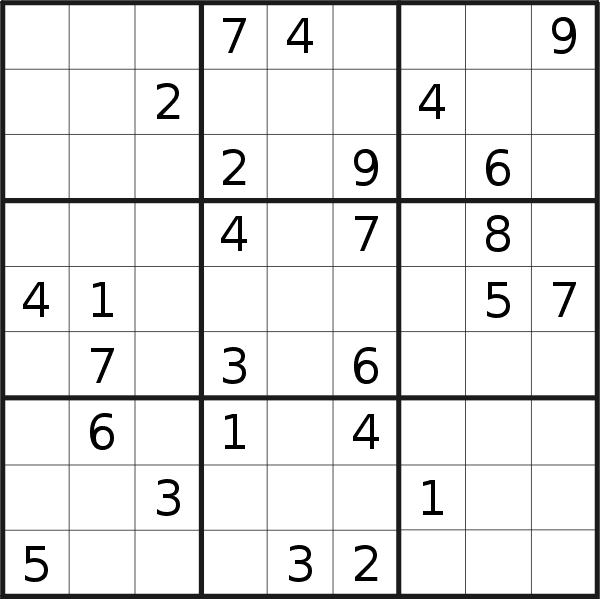 Sudoku puzzle for <br />Tuesday, 2nd of July 2019