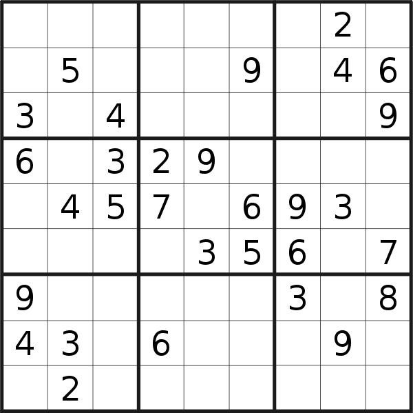 Sudoku puzzle for <br />Sunday, 7th of July 2019