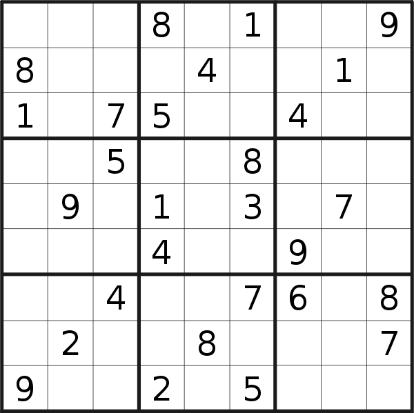 Sudoku puzzle for <br />Wednesday, 10th of July 2019