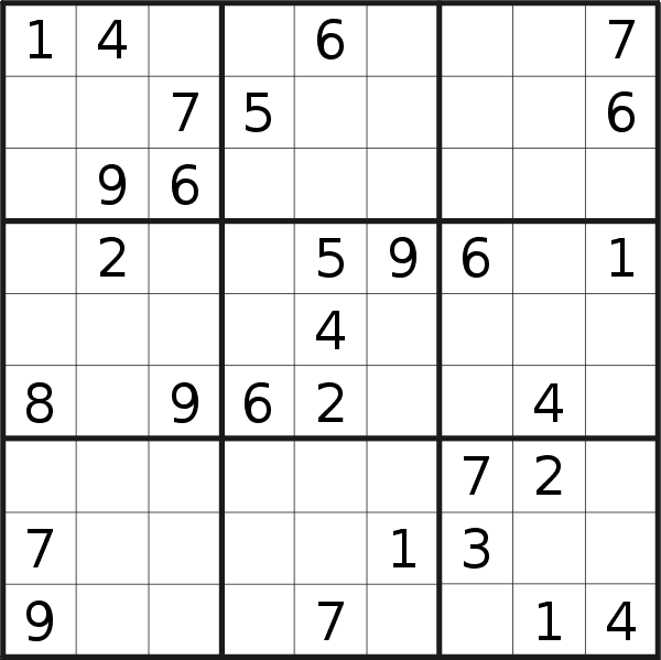 Sudoku puzzle for <br />Sunday, 14th of July 2019
