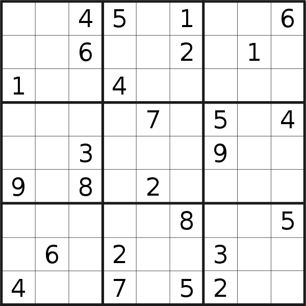 Sudoku puzzle for <br />Monday, 15th of July 2019