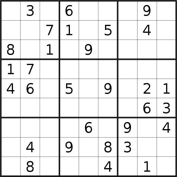 Sudoku puzzle for <br />Wednesday, 17th of July 2019