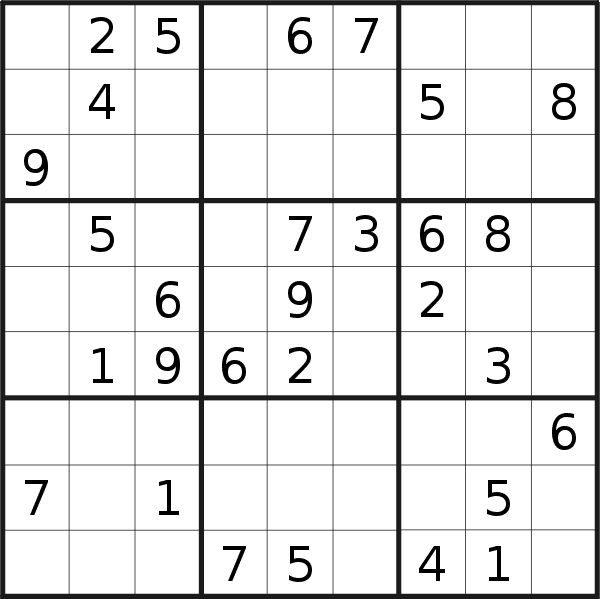Sudoku puzzle for <br />Sunday, 21st of July 2019