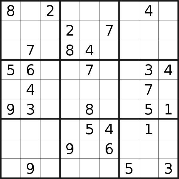 Sudoku puzzle for <br />Tuesday, 23rd of July 2019
