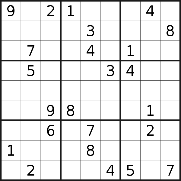 Sudoku puzzle for <br />Thursday, 25th of July 2019