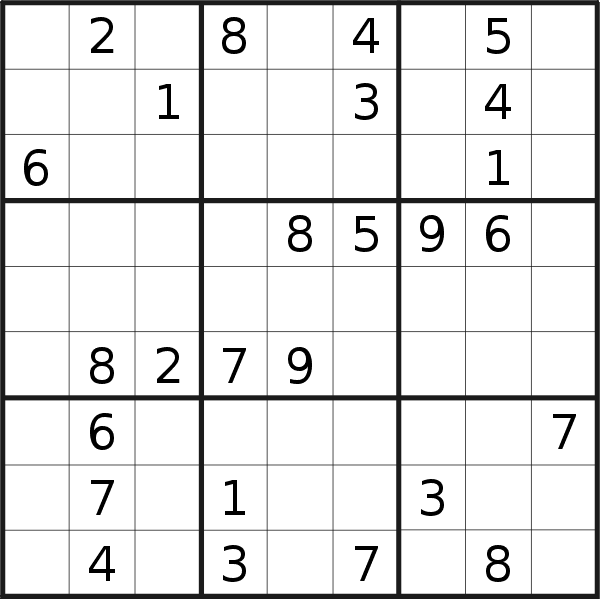 Sudoku puzzle for <br />Saturday, 27th of July 2019
