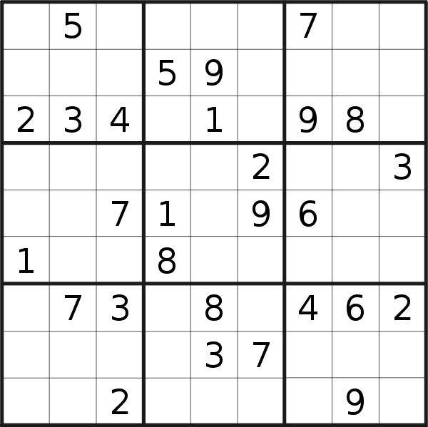 Sudoku puzzle for <br />Wednesday, 7th of August 2019