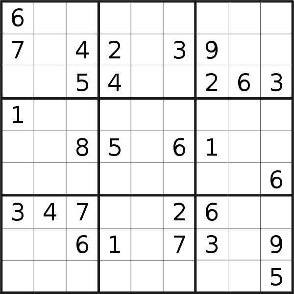 Sudoku puzzle for <br />Saturday, 10th of August 2019