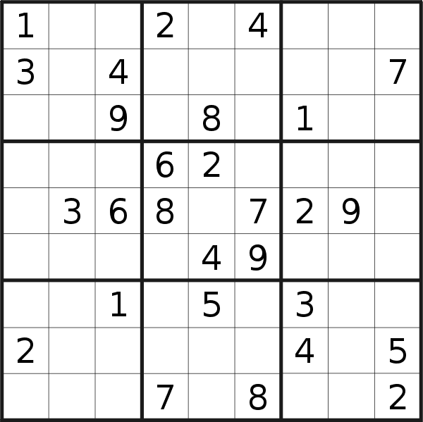 Sudoku puzzle for <br />Sunday, 11th of August 2019