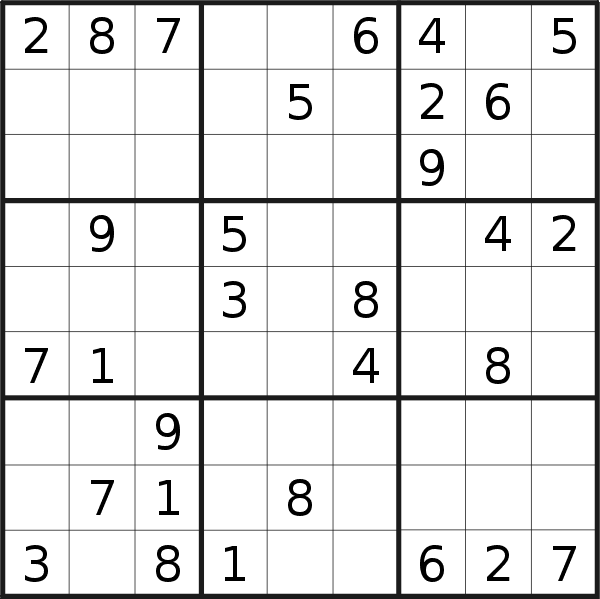 Sudoku puzzle for <br />Tuesday, 13th of August 2019