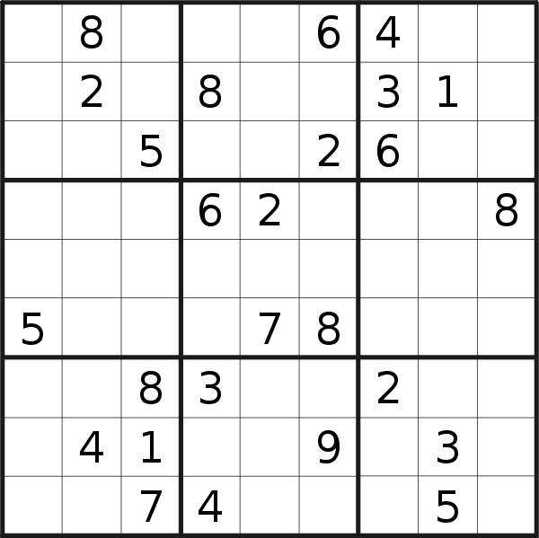 Sudoku puzzle for <br />Wednesday, 14th of August 2019