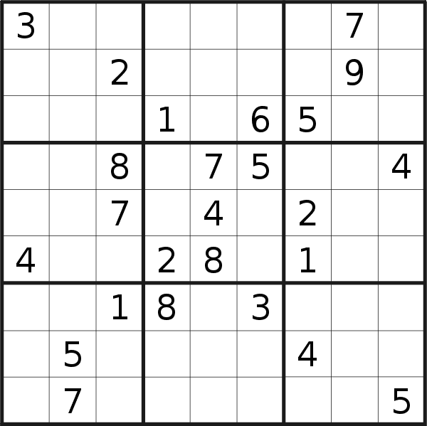 Sudoku puzzle for <br />Sunday, 18th of August 2019