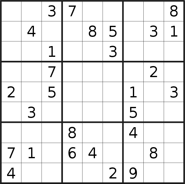 Sudoku puzzle for <br />Monday, 19th of August 2019